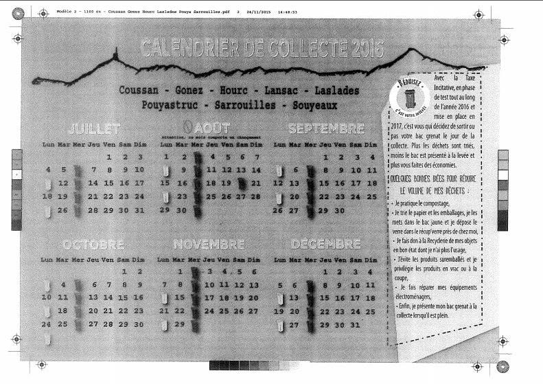 calendrier de collecte 2016 symat 2